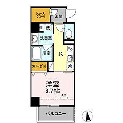 名鉄名古屋本線 東岡崎駅 徒歩4分の賃貸マンション 3階1Kの間取り