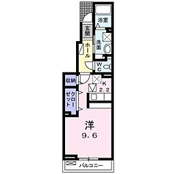 愛知県豊橋市東幸町字大山の賃貸アパートの間取り