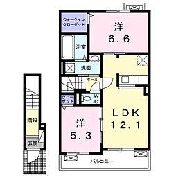 南海高野線 滝谷駅 徒歩12分の賃貸アパート 2階2LDKの間取り