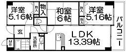 星田ロイヤルハイツ[2階]の間取り