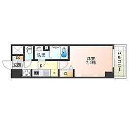 阪神なんば線 九条駅 徒歩4分の賃貸マンション 9階1Kの間取り