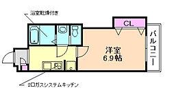 Luxe三国[5階]の間取り
