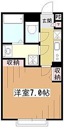 東京都東村山市野口町3の賃貸アパートの間取り