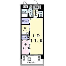 JR南武線 矢川駅 徒歩5分の賃貸マンション 7階1LDKの間取り
