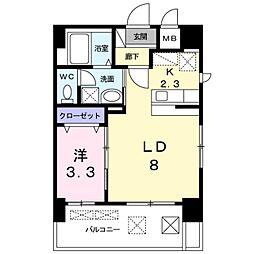西鉄天神大牟田線 薬院駅 徒歩6分の賃貸マンション 9階1LDKの間取り