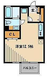 JR京浜東北・根岸線 さいたま新都心駅 徒歩14分の賃貸アパート 2階ワンルームの間取り