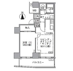 JR山手線 浜松町駅 徒歩3分の賃貸マンション 38階1LDKの間取り
