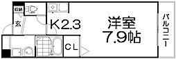 コンフォート・アザレア2番館 3階1Kの間取り