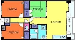 兵庫県神戸市灘区水車新田字宮坂の賃貸マンションの間取り