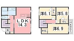 クラヴィエ南町坪[1階]の間取り