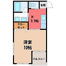 栃木県宇都宮市新富町の賃貸マンションの間取り