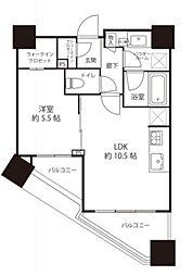 シティタワー武蔵小山 タワー棟 6階1LDKの間取り