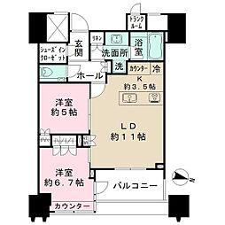 都営大江戸線 春日駅 徒歩1分の賃貸マンション 29階2LDKの間取り
