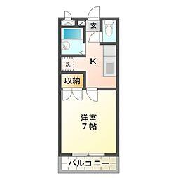 愛知県岡崎市小呂町字3丁目の賃貸アパートの間取り