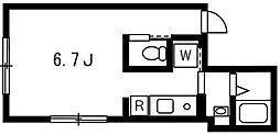 プロト西小山 2階ワンルームの間取り