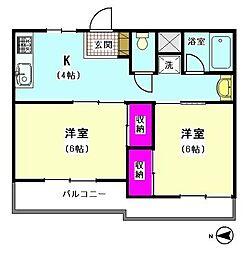 リジェールイン大森 (安心の鉄筋コンクリートマンション)[102号室]の間取り