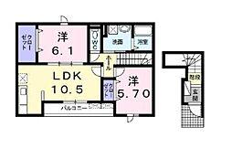 神奈川県綾瀬市落合南1丁目の賃貸アパートの間取り