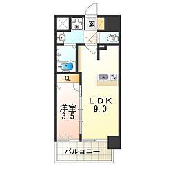 プレサンス立売堀ベルヴィル 4階1LDKの間取り