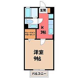 栃木県宇都宮市峰4丁目の賃貸アパートの間取り