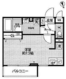 JR中央線 西荻窪駅 徒歩11分の賃貸マンション 3階ワンルームの間取り