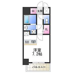 SOAR NAGAI 6階ワンルームの間取り