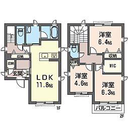 ドゥマール E 1階3LDKの間取り