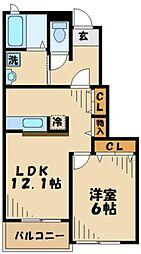 神奈川県横浜市瀬谷区本郷2丁目の賃貸アパートの間取り