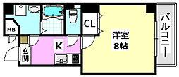 阪急京都本線 南茨木駅 徒歩7分の賃貸マンション 5階1Kの間取り