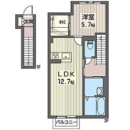 仮称 光陽台6丁目シャーメゾン 2階1LDKの間取り