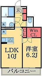 千葉県市原市ちはら台西6丁目の賃貸アパートの間取り