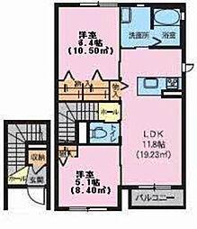 メゾン自由ヶ丘 2階2LDKの間取り