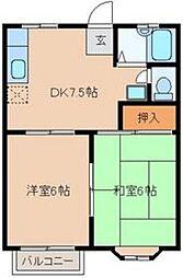 JR埼京線 北与野駅 徒歩29分の賃貸アパート 2階2DKの間取り