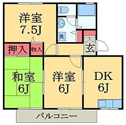 千葉県千葉市緑区あすみが丘7丁目の賃貸アパートの間取り