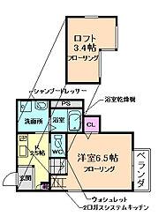 大阪府池田市石橋4丁目の賃貸アパートの間取り