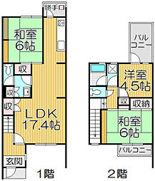 花鶴丘サンハイツ 1階3LDKの間取り
