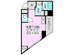 ラ・メゾヌーヴ 9階ワンルームの間取り