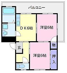 フェリオ大美野[2階]の間取り