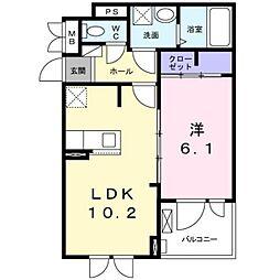 泉北高速鉄道 光明池駅 徒歩21分の賃貸アパート 3階1LDKの間取り