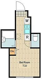 仮称)バーミープレイス立川4 1階ワンルームの間取り