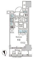 パークアクシス築地 8階ワンルームの間取り