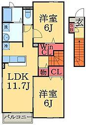 千葉県千葉市緑区大金沢町の賃貸アパートの間取り
