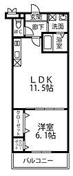 楠弥の里 2階1LDKの間取り