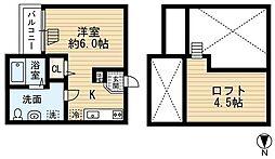 JR阪和線 鳳駅 徒歩5分の賃貸アパート 2階1Kの間取り