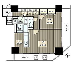 JR山手線 目黒駅 徒歩8分の賃貸マンション 9階1LDKの間取り