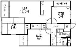 シャトレ南福岡[2階]の間取り
