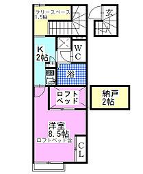 レオパレスサンリーブ3[2階]の間取り