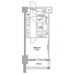 ザ・パークハビオ神泉 地下2階1Kの間取り