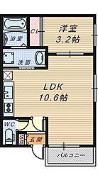 大阪府堺市堺区三宝町3丁の賃貸アパートの間取り
