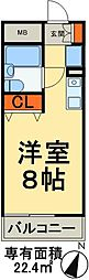 JR武蔵野線 三郷駅 徒歩4分の賃貸マンション 6階ワンルームの間取り