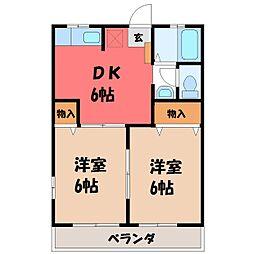 栃木県下都賀郡壬生町大字壬生丁の賃貸アパートの間取り